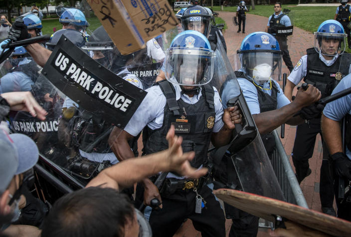 Protestors clash with U.S. Park Police after protestors attempted to pull down the statue of Andrew Jackson in Lafayette Square near the White House on June 22, 2020 in Washington, DC. (Tasos Katopodis /Getty Images)