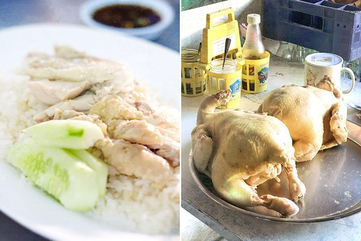 Thai chicken rice or 'khao man gai', with sliced 'prik kee noo' chillies in a sweet soy sauce for dipping.
