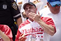 <p>Remember, contestants only have 10 minutes to down as many franks as they can in front of a roaring crowd.</p>