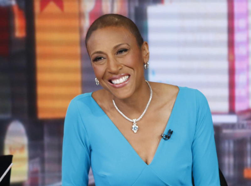 "This image released by ABC shows anchor Robin Roberts during a broadcast of ""Good Morning America,"" Wednesday, Feb. 20, 2013 in New York. Roberts is resting at home and off ""Good Morning America"" this week after another hospital stay as part of her recuperation from a rare blood disease. The ABC News morning show host said she felt ill last week while on vacation and was told to return to New York and go to the hospital to fight off an infection. She's home now, and posted on Facebook on Thursday, April 18, that she's feeling much better. Roberts underwent a bone marrow transplant last September to treat MDS, a blood and bone marrow disease. (AP Photo/ABC, Heidi Gutman)"