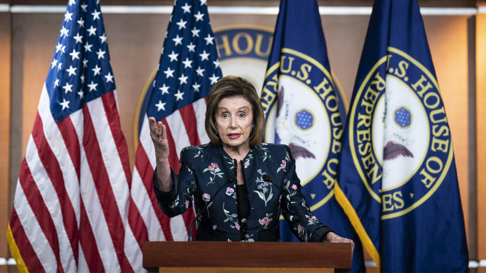 Speaker of the House Nancy Pelosi, D-Calif., holds her weekly press conference on Capitol Hill on July 22.