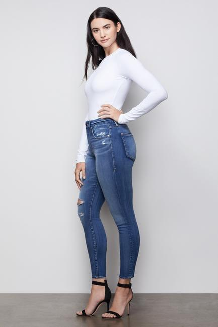 <p>Another version of the bestsellers, these <span>Good Legs Jeans</span> ($175) have a distressed finish.</p>