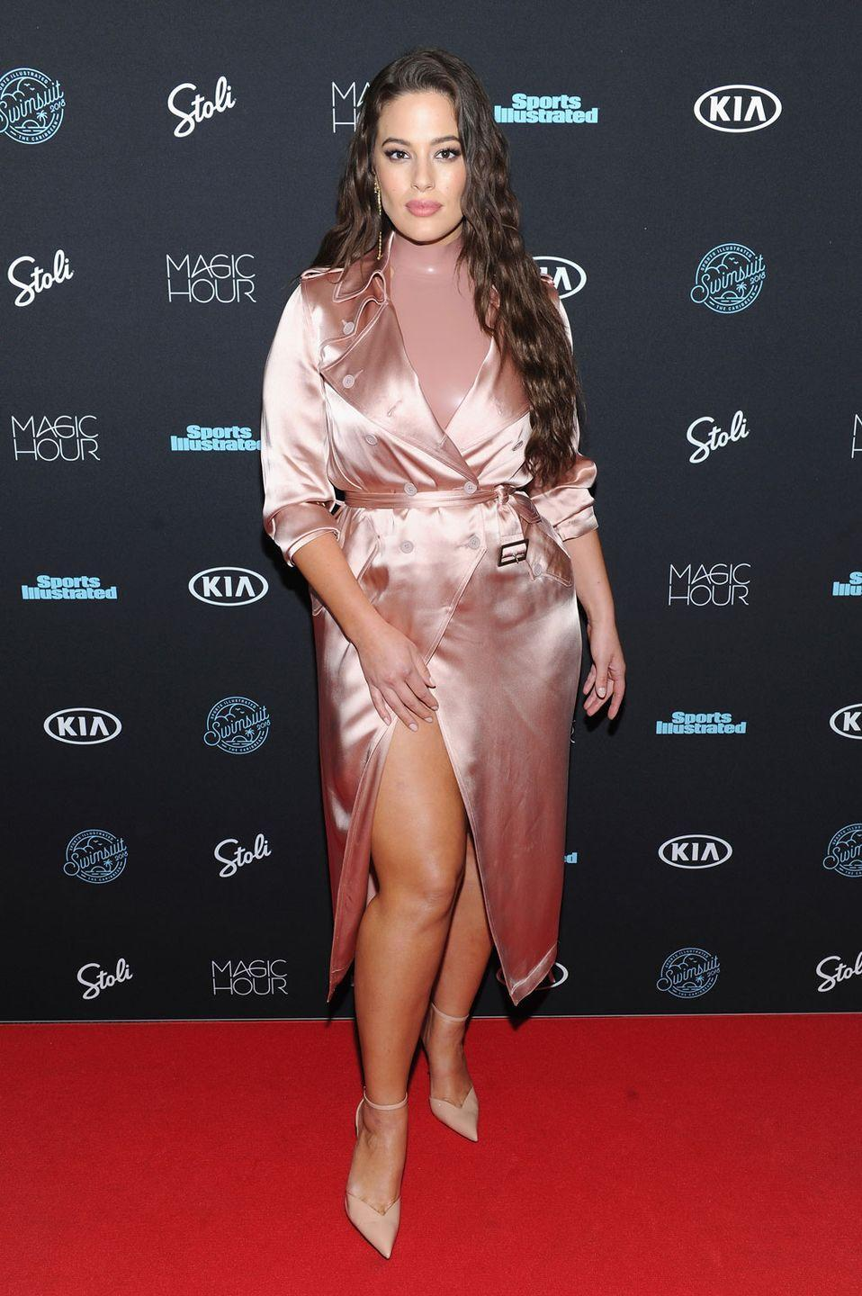 <p>Attending the 2018 Sports Illustrated Swimsuit Issue: Forget Fifty Shades of Grey, right now we're obsessed with Ashley's fifty shades of pink look. Matching her colours but switching her textures, we can't get enough of her pink latex top and pink silk jacket. </p>