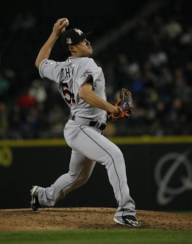 Miami Marlins Wei-Yin Chen pitches against the Seattle Mariners during a baseball game, Tuesday, April 18, 2017, in Seattle (AP Photo by Ted S. Warren)