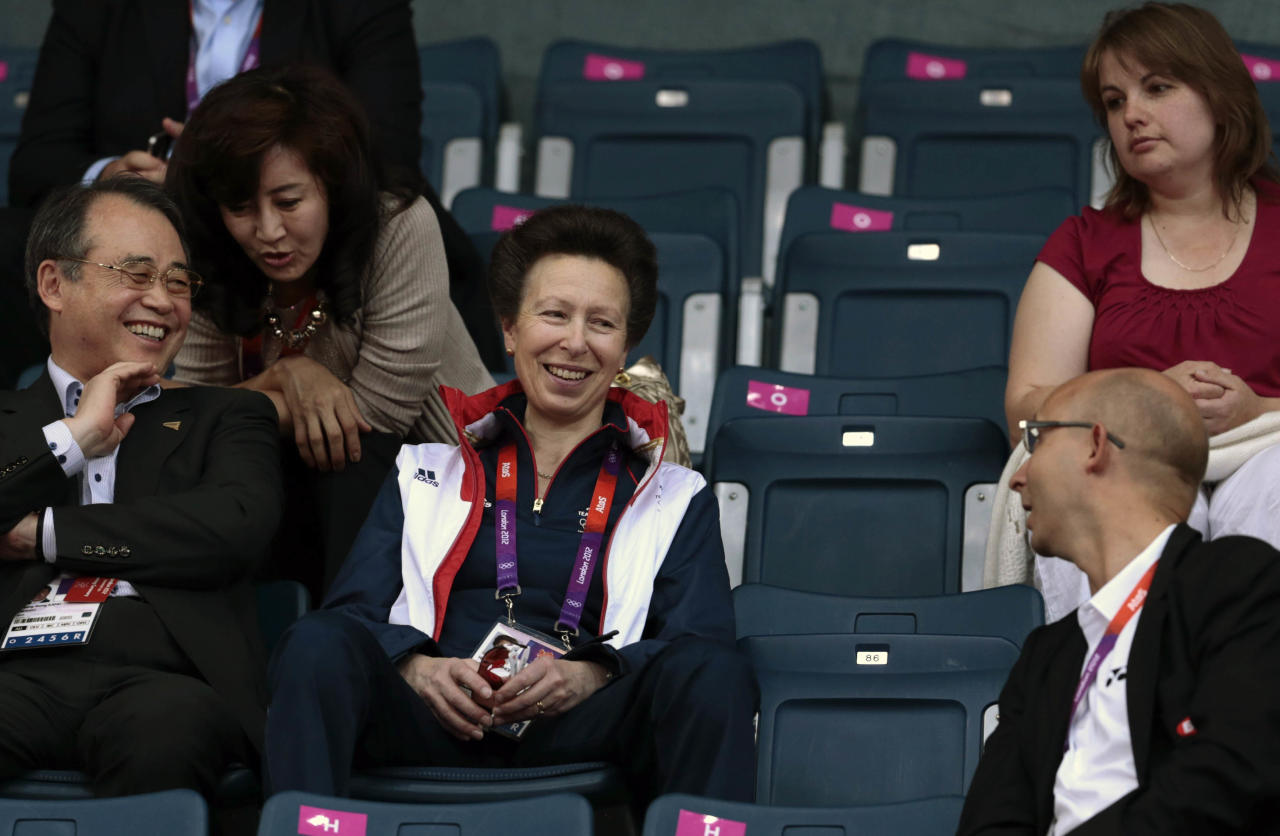 Princess Anne, center, mother of Britain equestrian rider Zara Phillips, looks on during mens badminton competition at the 2012 Summer Olympics, Monday, July 30, 2012, in London. (AP Photo/Saurabh Das)