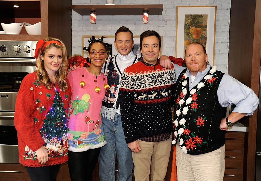 """Late-night cutie Jimmy Fallon (second from right) stopped by the food-centric ABC talk show """"The Chew"""" on Tuesday to fearlessly make a fashion faux pas at the program's """"Ugly Holiday Sweater Party,"""" along with hosts (from left) Daphne Oz, Carla Hall, Clinton Kelly, and Mario Batali. (12/6/2011)"""