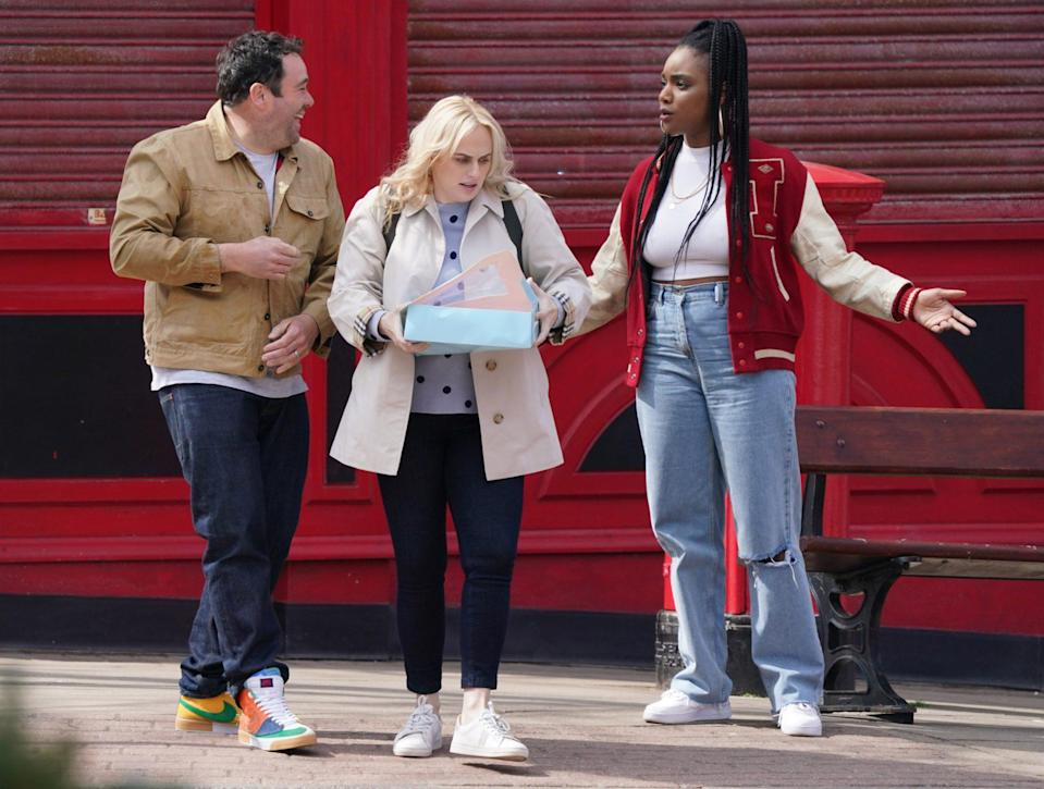 <p>Rebel Wilson and her costars get animated on Tuesday while filming her new movie <em>The Almond and the Seahorse</em> in New Brighton, England. </p>
