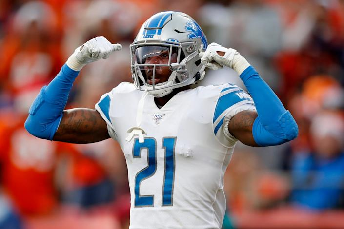 Lions free safety Tracy Walker celebrates a defensive stop against the Broncos during the first half on Sunday, Dec. 22, 2019, in Denver.