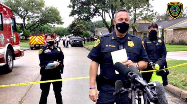 PHOTO: Assistant Chief Edwards Daryn speaks to the press in Houston about a potential smuggling case after dozens of people were found inside a residence on Chessington Drive in Houston, April 30, 2021.  (Houston Police )