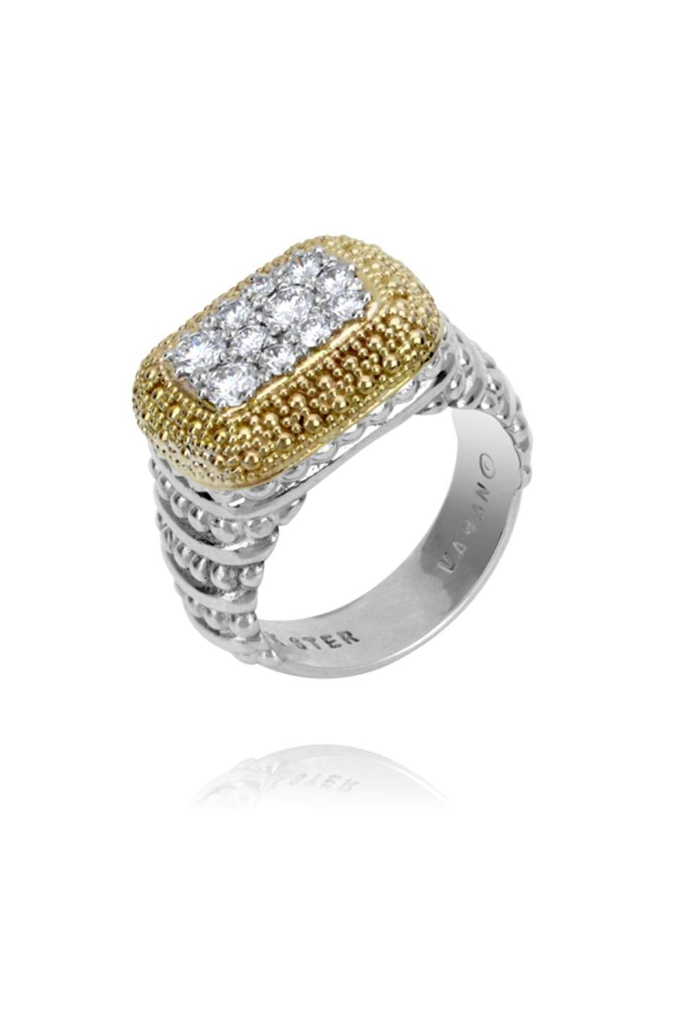 """<p><strong>Vahan</strong></p><p>vahanjewelry.com</p><p><strong>$4315.00</strong></p><p><a href=""""https://www.vahanjewelry.com/jewelry/40984/"""" rel=""""nofollow noopener"""" target=""""_blank"""" data-ylk=""""slk:Shop Now"""" class=""""link rapid-noclick-resp"""">Shop Now</a></p><p>For women who love to mix metals, this ring means she never has to choose. </p>"""