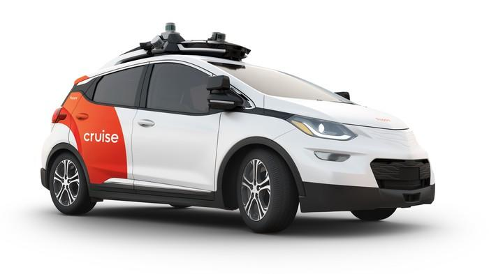 A Cruise AV, a prototype self-driving electric taxi