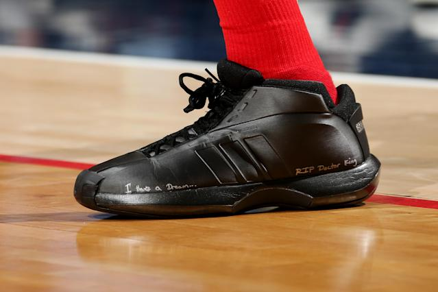 The sneakers worn by Kelly Oubre Jr. of the Washington Wizards against the Milwaukee Bucks on Jan. 15, 2018 at Capital One Arena in Washington, D.C. (Getty)