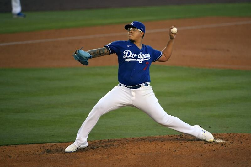 Dodgers pitcher Julio Urias throws during an intrasquad baseball game Wednesday, July 15, 2020, in Los Angeles.
