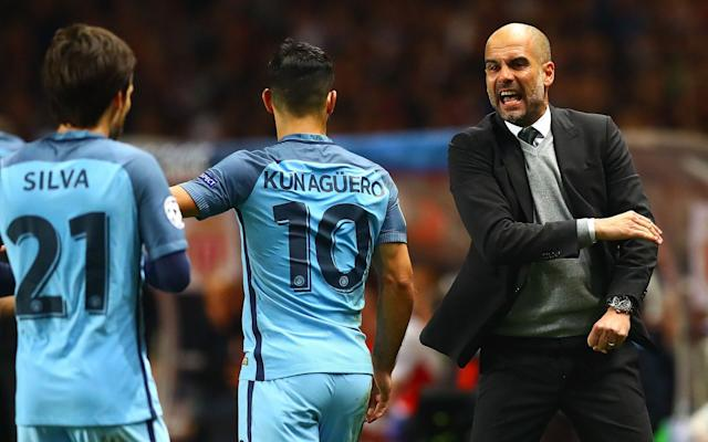 <span>Guardiola appeared to be feeling the heat during his side's game with Monaco midweek</span> <span>Credit: REX FEATURES </span>