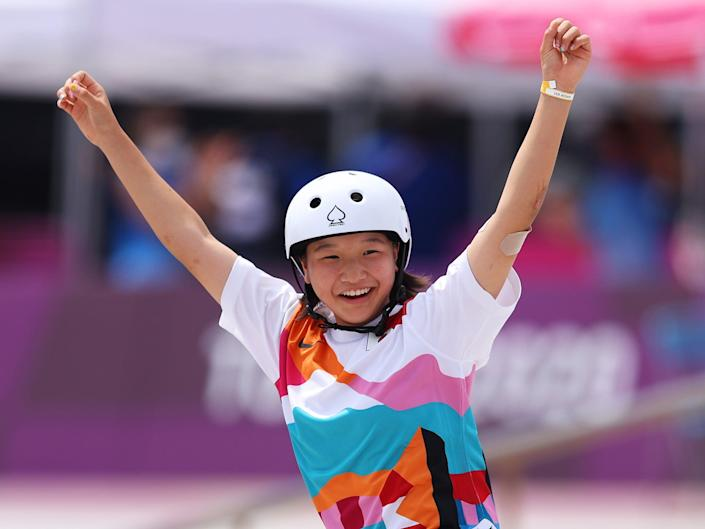 Momiji Nishiya of Team Japan celebrates during the Women's Street Final on day three of the Tokyo 2020 Olympic Games at Ariake Urban Sports Park on July 26, 2021 in Tokyo, Japan.