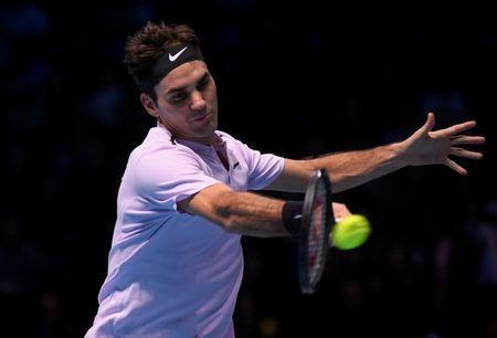 FILE PHOTO: ATP World Tour Finals - The O2 Arena, London, Britain - November 18, 2017 Switzerland's Roger Federer in action during his semi final match against Belgium's David Goffin REUTERS/Toby Melville