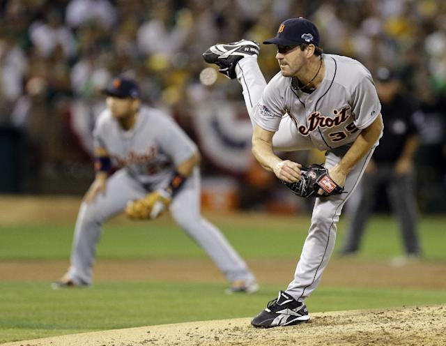 Detroit Tigers pitcher Justin Verlander (35) follows through in the third inning of Game 2 of an American League baseball division series against the Oakland Athletics in Oakland, Calif., Saturday, Oct. 5, 2013. (AP Photo/Ben Margot)