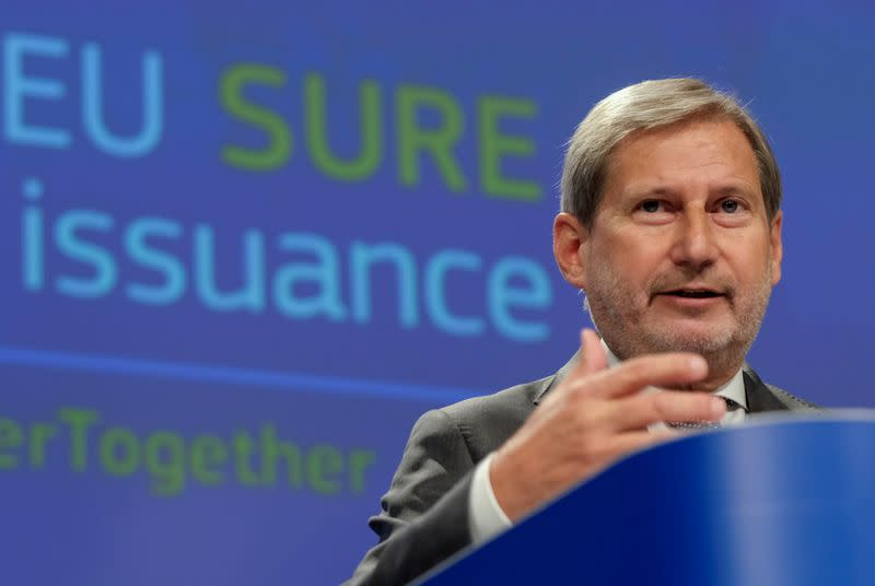 EU Commissioner for Budget Johannes Hahn gives a news conference Brussels