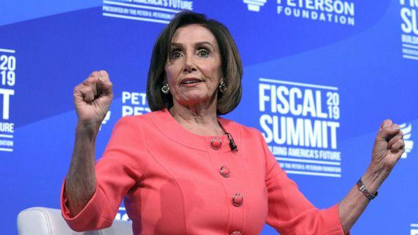 PHOTO: House Speaker Nancy Pelosi (D-CA) sits for an onstage interview about the budget at the Peterson Foundation's annual Fiscal Summit in Washington D.C., June 11, 2019.   (Jonathan Ernst/Reuters)