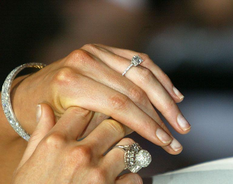 <p>The simple solitaire engagement ring got a makeover when pavé bands were in style in 2005. Sometimes, the band was accompanied by a pavé halo, because, well, more bling.</p>