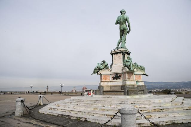 A deserted Piazzale Michelangelo overlooking the city of Florence, Tuscany on March 10, 2020. (Credit: Carlo Bressan/AFP)