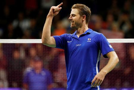 Badminton - Badminton World Championships - Glasgow, Britain - August 22, 2017   France's Brice Leverdez celebrates his victory over Malaysia's Lee Chong Wei   REUTERS/Russell Cheyne