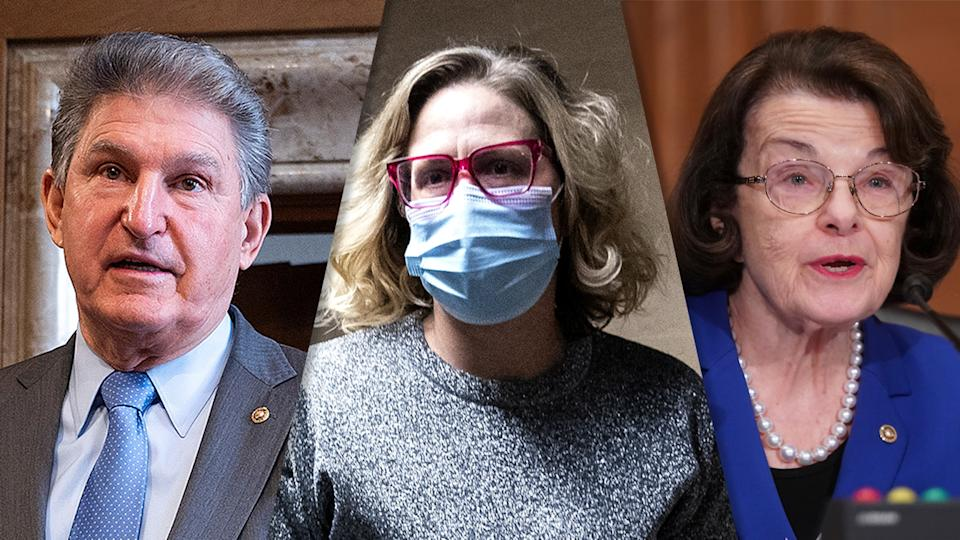 Senators Joe Manchin, Kyrsten Sinema and Dianne Feinstein. (Photo illustration: Yahoo News; photos: Jim Watson/Pool via Reuters, Stefani Reynolds/Bloomberg via Getty Images, Leigh Vogel/Pool via AP)
