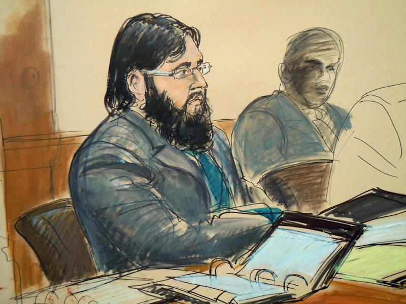 FILE - In this April 18, 2012 courtroom file sketch, terror trial suspect Adis Medunjanin, accused in a foiled plot to attack New York City subways, sits in federal court in the Brooklyn borough of New York. As they testified at the trial of Medunjanin, two high-value government cooperators have offered an unprecedented firsthand account of how al-Qaida operated in the decade following the Sept. 11 attacks. (AP Photo/Elizabeth Williams, File)