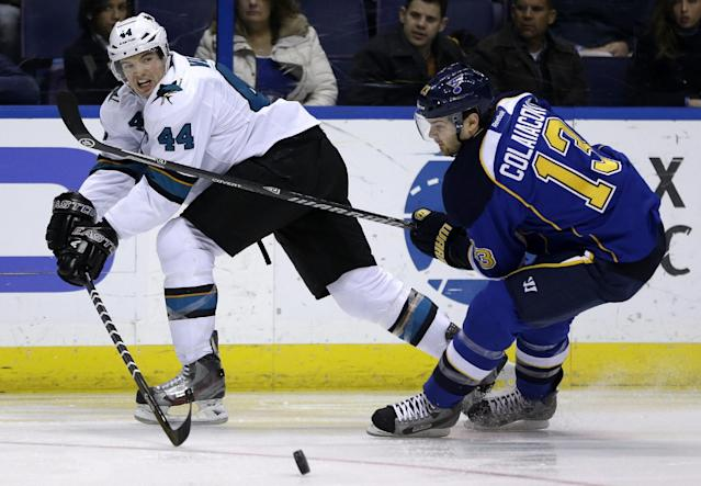 San Jose Sharks' Marc-Edouard Vlasic, left, passes around St. Louis Blues' Carlo Colaiacovo during the second period of an NHL hockey game Tuesday, Dec. 17, 2013, in St. Louis. (AP Photo/Jeff Roberson)