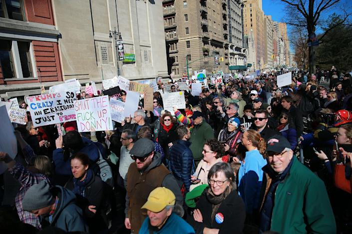 """<p>Thousands of people fill the streets at the """"Not My President's Day"""" rally at Central Park West in New York City on Feb. 20, 2017. (Gordon Donovan/Yahoo News) </p>"""