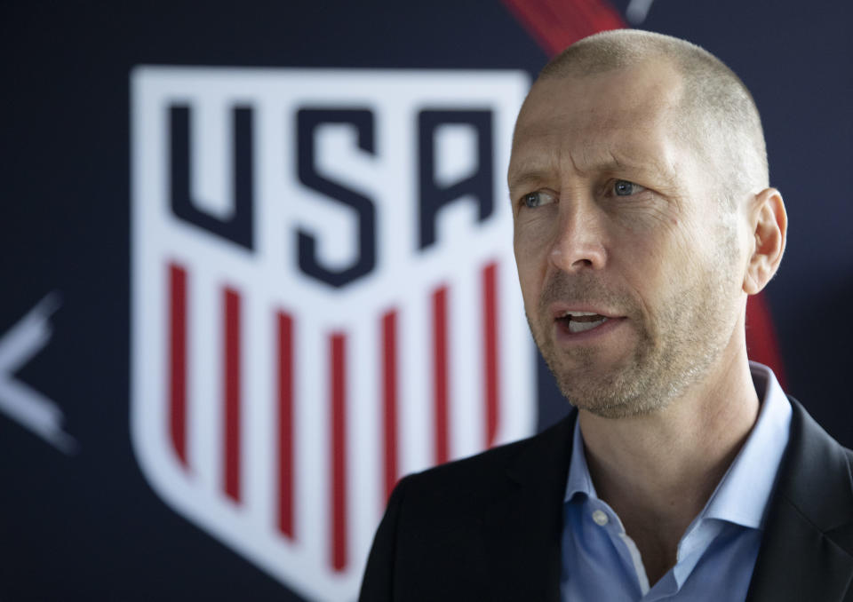United States coach Gregg Berhalter believes the possession-based system he used in Columbus can work at the international level. (Mark Lennihan/AP)