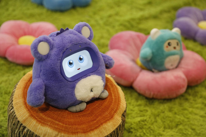 A Woobo talking robot is on display at the Woobo booth at CES International, Wednesday, Jan. 9, 2019, in Las Vegas. (AP Photo/John Locher)