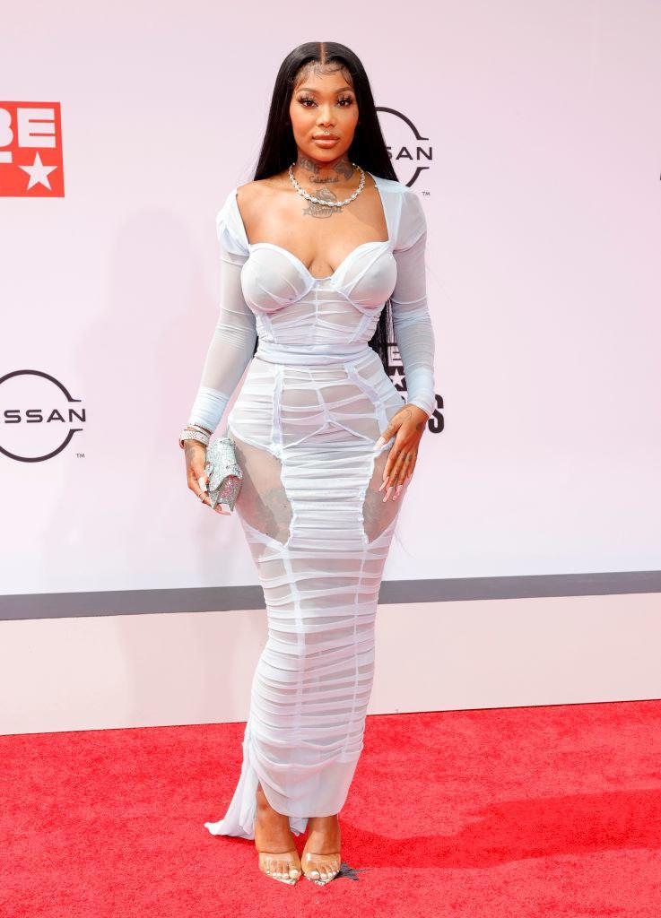 Summer Walker attends the BET Awards 2021 in a ruched dress