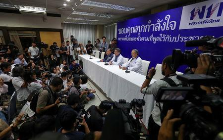 Members of Pheu Thai Party hold a news conference after unofficial results, during the general election in Bangkok, Thailand, March 24, 2019. REUTERS/Athit Perawongmetha