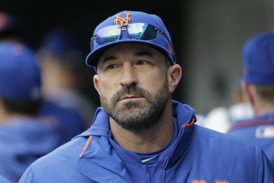 New York Mets manager Mickey Callaway before the MLB baseball game against the Milwaukee Brewers at Citi Field, Sunday, April 28, 2019, in New York. (AP Photo/Seth Wenig)