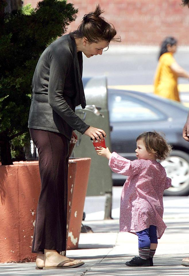 """Careful sweetie, that's hot,"" Maggie Gyllenhall warns daughter Ramona. Daniel/<a href=""http://www.infdaily.com"" target=""new"">INFDaily.com</a> - May 7, 2008"