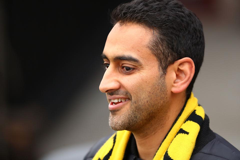 Tigers supporter Waleed Aly looks on during a Richmond Tigers AFL training session at Punt Road Oval on September 21, 2017 in Melbourne, Australia.