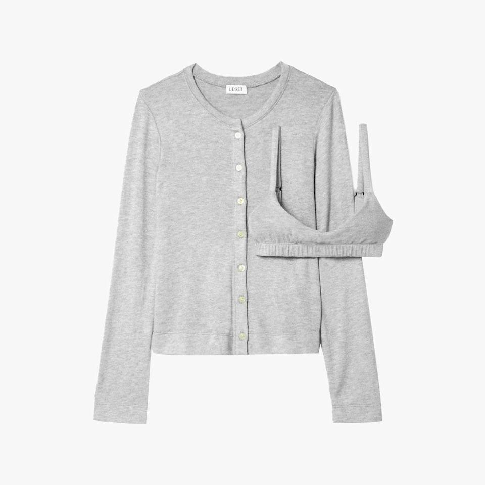 """Leset's pretty, gray, knit bra and matching cardigan take loungewear to a new level. $220, NET-A-PORTER. <a href=""""https://www.net-a-porter.com/en-us/shop/product/leset/lori-brushed-stretch-jersey-cardigan-and-bralette-set/1278053"""" rel=""""nofollow noopener"""" target=""""_blank"""" data-ylk=""""slk:Get it now!"""" class=""""link rapid-noclick-resp"""">Get it now!</a>"""