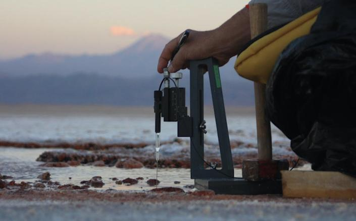 Pieter Visscher using a field gear to measure the chemical make up of the purple microbial mats.