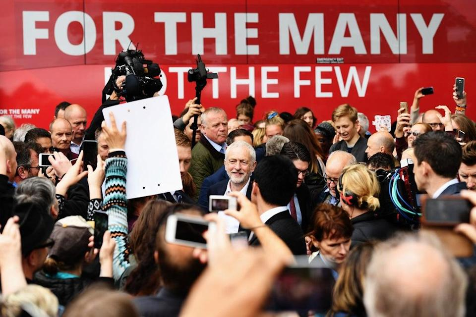 Labour Party Jeremy Corbyn is mobbed by supporters as he launched the party's 2017 election manifesto (Getty Images)