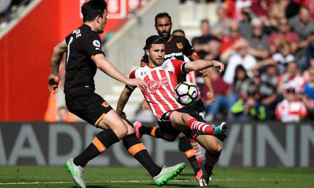 "<span class=""element-image__caption"">Harry Maguire, left, marshals the Southampton striker Shane Long.</span> <span class=""element-image__credit"">Photograph: Tony O'Brien/Reuters</span>"