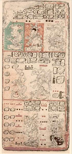 Anthropologists decoded early Mayan hieroglyphics from four codices, finding the Maya accurately predicted modern-day astronomical phenomena. Shown here, an image from the so-called Dresden Codex.