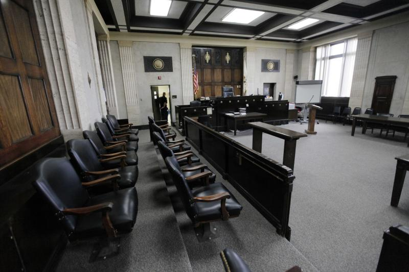 This photo shows the courtroom where William Balfour, the man accused of killing Jennifer Hudson's family will be tried, Monday, April 16, 2012, in Chicago. The Trial will begin next week in the Cook County Criminal Courts Building. The use of Twitter is creating tension between reporters and judges who fear tweeting could threaten a defendant's right to a fair trial and that issue has been highlighted by the Chicago court's decision to ban anyone from tweeting at Balfour's trial. (AP Photo/M. Spencer Green)