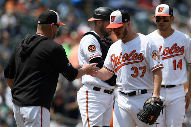 "The <a class=""link rapid-noclick-resp"" href=""/mlb/teams/baltimore/"" data-ylk=""slk:Baltimore Orioles"">Baltimore Orioles</a> pitching staff has been a fantasy gift to all in 2019. (AP Photo/Nick Wass)"
