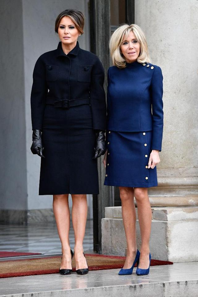 <p>Melania Trump opted for a belted dress by Bottega Veneta at Élysée Palace in Paris on November 10. <em>[Photo: Getty]</em> </p>