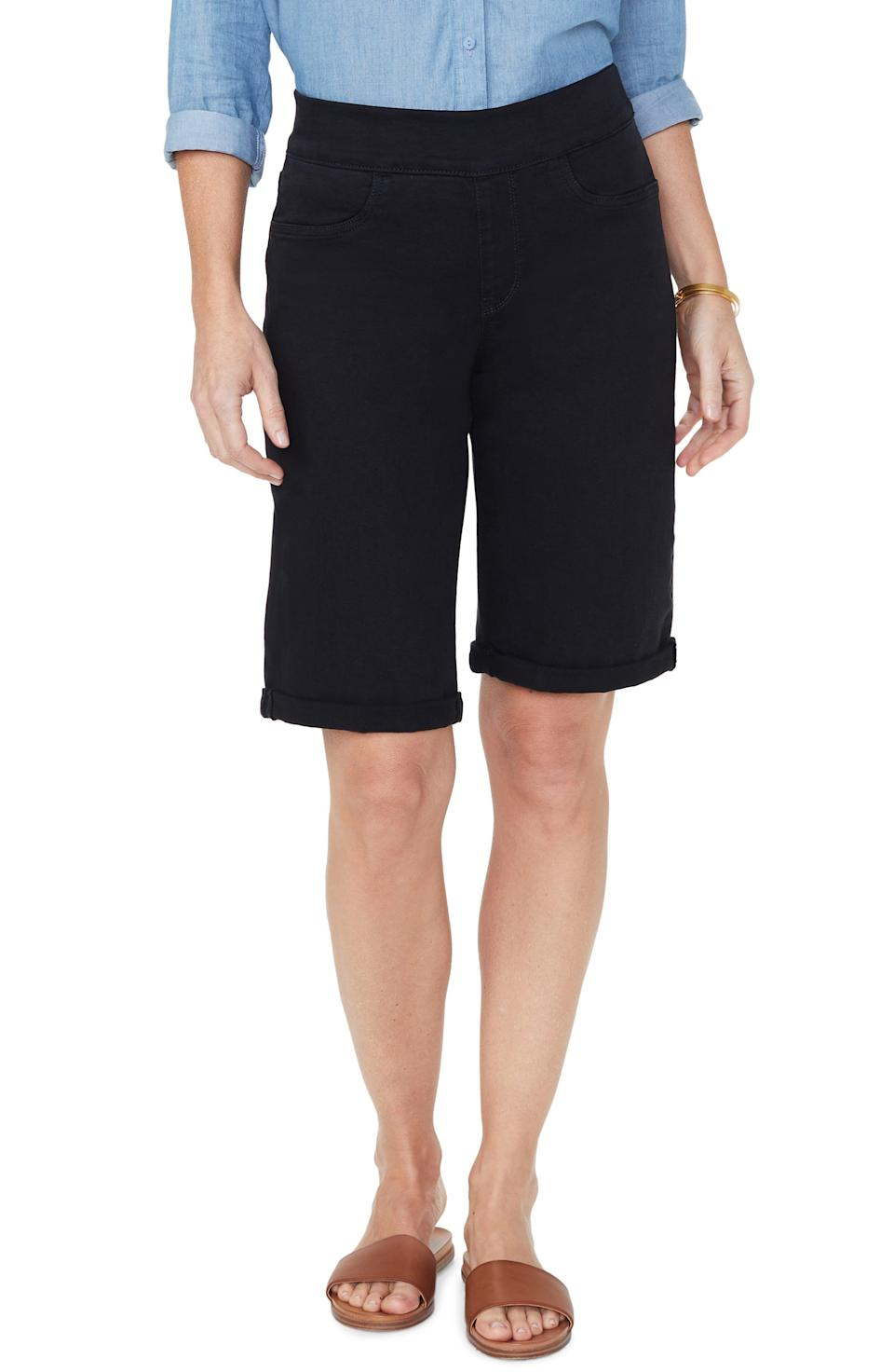 """<p><strong>NYDJ</strong></p><p>nordstrom.com</p><p><strong>$35.40</strong></p><p><a href=""""https://go.redirectingat.com?id=74968X1596630&url=https%3A%2F%2Fwww.nordstrom.com%2Fs%2Fnydj-roll-cuff-pull-on-denim-shorts%2F5295447&sref=https%3A%2F%2Fwww.thepioneerwoman.com%2Ffashion-style%2Fg36608512%2Fbest-high-waisted-shorts%2F"""" rel=""""nofollow noopener"""" target=""""_blank"""" data-ylk=""""slk:Shop Now"""" class=""""link rapid-noclick-resp"""">Shop Now</a></p><p>These black bermuda shorts are great for dressing up or down. The pull-on waistband looks super comfortable and the stretch-denim fabric features lift-tuck technology that helps flatten the tummy and lift the rear.</p>"""