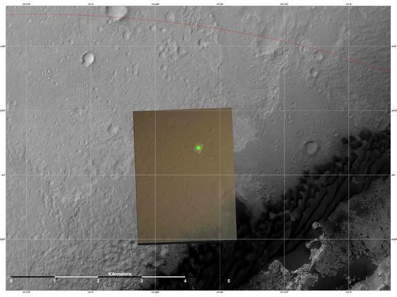 This image shows the location (green) where scientists estimate NASA's Curiosity rover landed on Mars within Gale Crater, based on images from the Mars Descent Imager (MARDI). The landing estimates derived from navigation and landing data agree