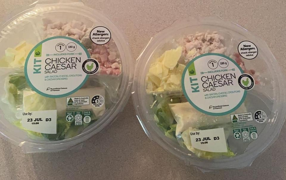 Woolworths chicken caesar salad kit given to customer.