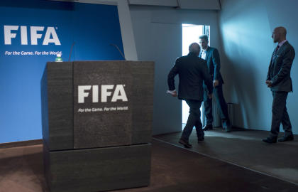 Sepp Blatter leaves after announcing he will resign as FIFA president. (AP)