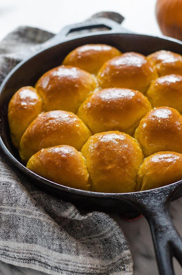 """<p>Warm-from-the-oven dinner rolls are a guaranteed crowd-pleaser, and they're especially nice to serve on a holiday table. (This recipe is also a great way to use up an extra can of <a href=""""https://www.thepioneerwoman.com/food-cooking/recipes/a11184/make-your-own-pumpkin-puree/"""" rel=""""nofollow noopener"""" target=""""_blank"""" data-ylk=""""slk:pumpkin puree"""" class=""""link rapid-noclick-resp"""">pumpkin puree</a>.)</p><p><a href=""""https://www.thepioneerwoman.com/food-cooking/recipes/a103574/pumpkin-dinner-rolls/"""" rel=""""nofollow noopener"""" target=""""_blank"""" data-ylk=""""slk:Get the recipe."""" class=""""link rapid-noclick-resp""""><strong>Get the recipe. </strong></a></p><p><a class=""""link rapid-noclick-resp"""" href=""""https://go.redirectingat.com?id=74968X1596630&url=https%3A%2F%2Fwww.walmart.com%2Fsearch%2F%3Fquery%3Dmeasuring%2Bcup&sref=https%3A%2F%2Fwww.thepioneerwoman.com%2Ffood-cooking%2Fmeals-menus%2Fg36729946%2Fsavory-pumpkin-recipes%2F"""" rel=""""nofollow noopener"""" target=""""_blank"""" data-ylk=""""slk:SHOP MEASURING CUPS"""">SHOP MEASURING CUPS</a></p>"""